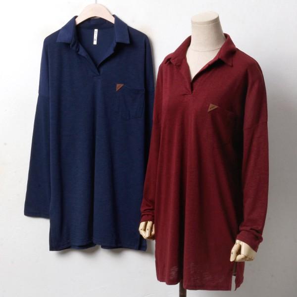 포켓패치 카라 티 MN3365M810  도매 배송대행 미시옷 임부복