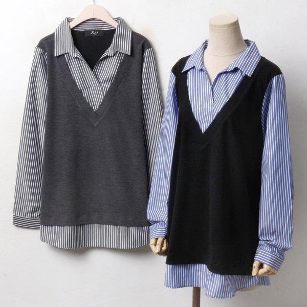 조끼배색 줄지 셔츠 RP3367M810  도매 배송대행 미시옷 임부복