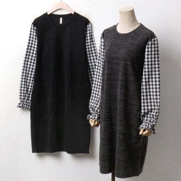 체크 소매 원피스 MN3423M810  도매 배송대행 미시옷 임부복