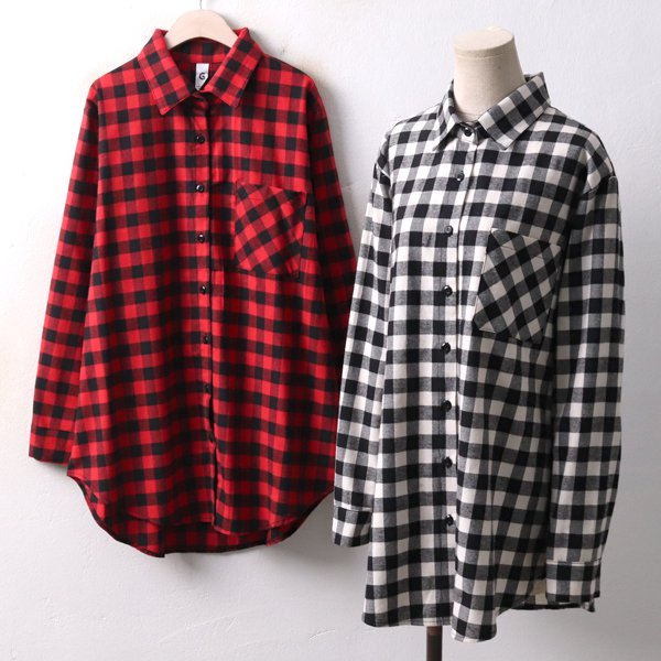 베이직기모체크남방 GO3712M811  도매 배송대행 미시옷 임부복