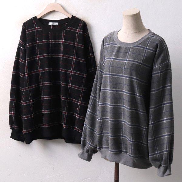 체크스트릿맨투맨티 YP3923M812  도매 배송대행 미시옷 임부복