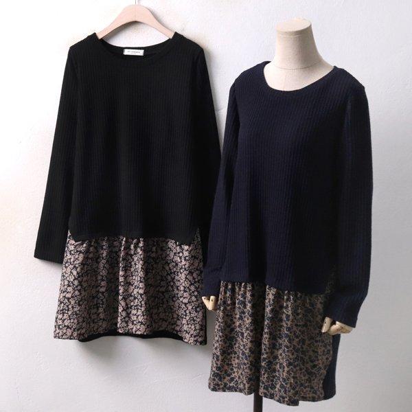 꽃배색 니트 원피스 DB3951M812  도매 배송대행 미시옷 임부복