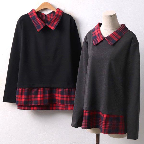 체크배색 카라티 GM3978M812  도매 배송대행 미시옷 임부복