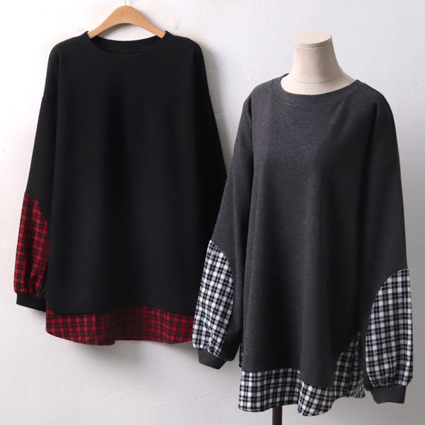 시보리 체크셔츠 티 GM3990M812  도매 배송대행 미시옷 임부복