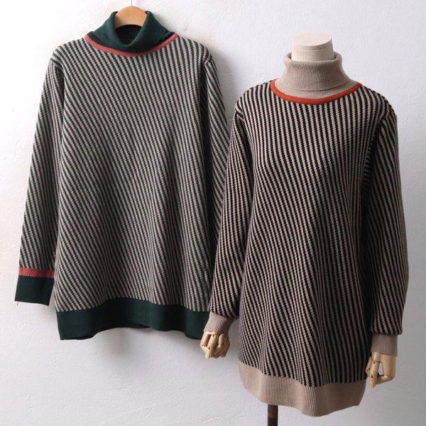 사선 줄지 배색니트 EB3991M812  도매 배송대행 미시옷 임부복