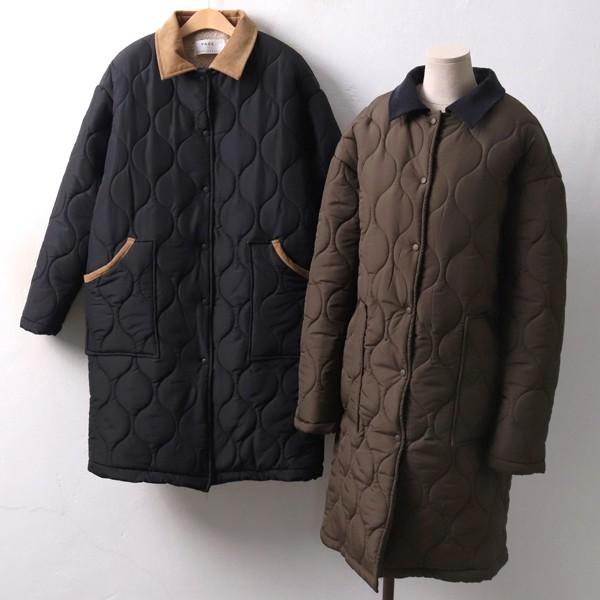 골덴배색누빔롱패딩 PE3998M812  도매 배송대행 미시옷 임부복
