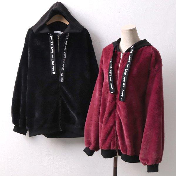 밍크퍼 레터링 집업 YP4173M901  도매 배송대행 미시옷 임부복