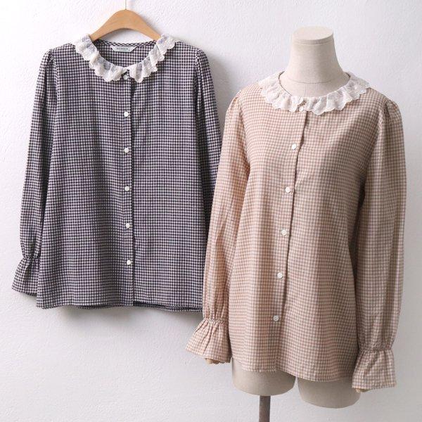 앤틱 체크 블라우스 LY5079M904  도매 배송대행 미시옷 임부복