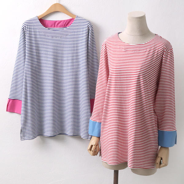 단가라 셔츠소매 티 EB5089M904  도매 배송대행 미시옷 임부복