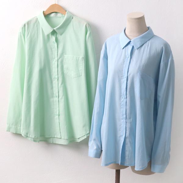 페퍼민트코튼남방 PE5648M906  도매 배송대행 미시옷 임부복