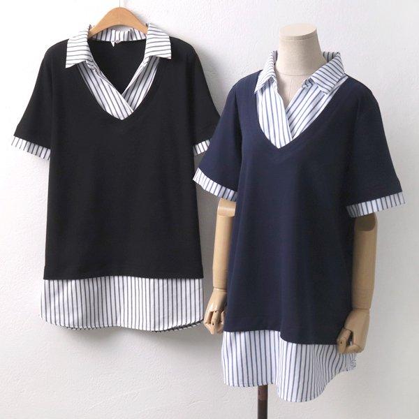 레이어드티줄지셔츠 MN5700M906  도매 배송대행 미시옷 임부복
