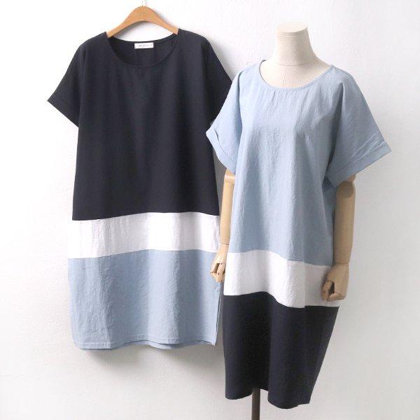 테이스배색마원피스 BS5967M907  도매 배송대행 미시옷 임부복