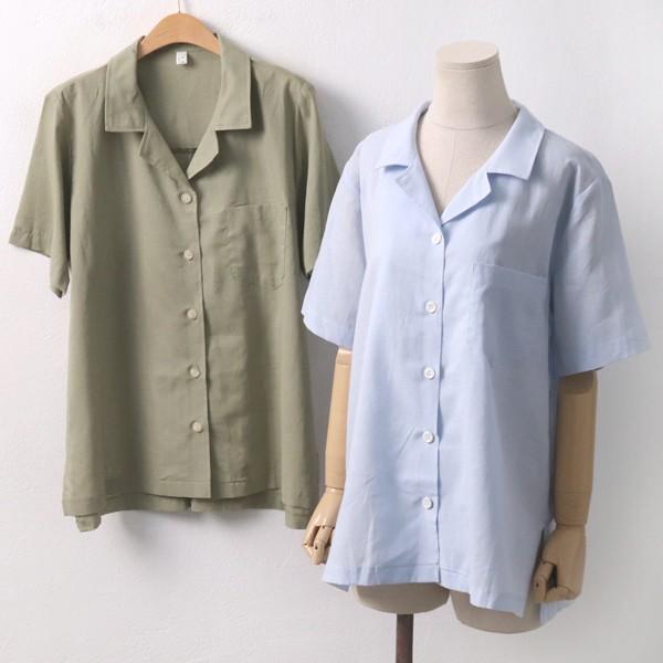 린넨기본반팔남방 PE6008M907  도매 배송대행 미시옷 임부복