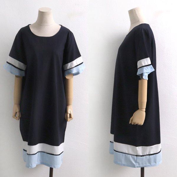 키이라배색롱원피스 BS6312M908  도매 배송대행 미시옷 임부복