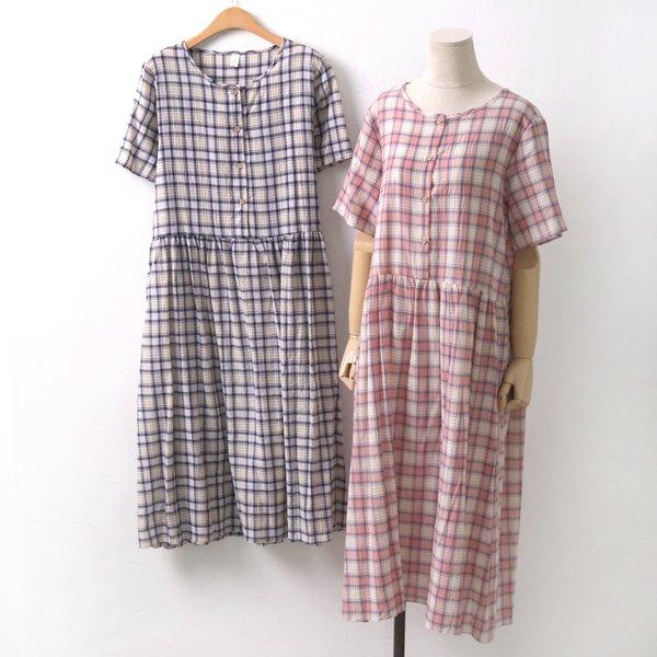 체크파스텔롱원피스 GY6328M908  도매 배송대행 미시옷 임부복