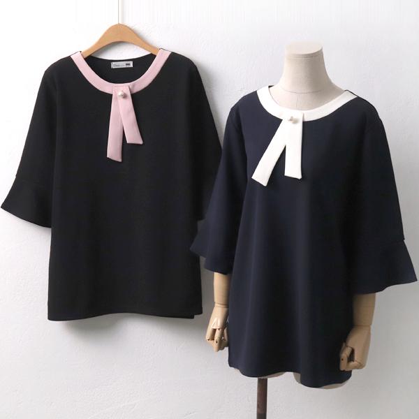 펄비쥬배색블라우스 OL6552M909  도매 배송대행 미시옷 임부복