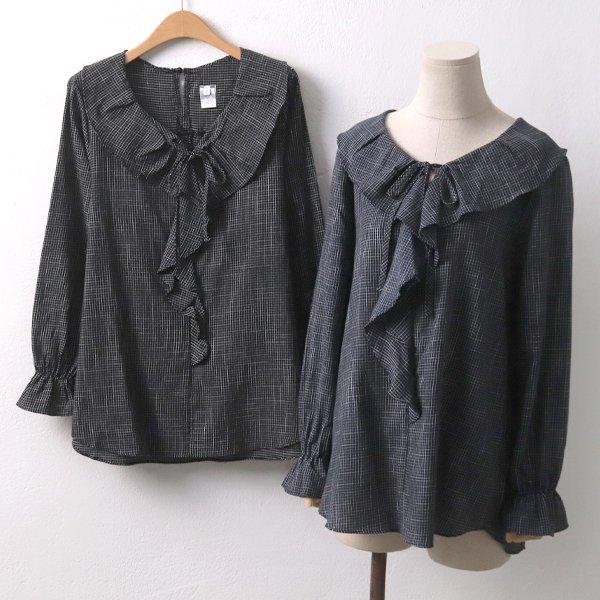칠리넛체크블라우스 DD6584M909  도매 배송대행 미시옷 임부복