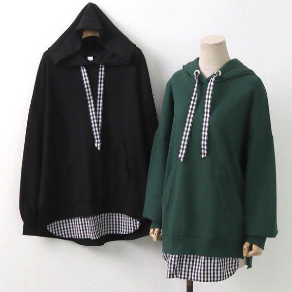 체크 스트링 후드티 GO6684M909  도매 배송대행 미시옷 임부복