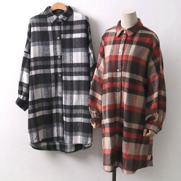 모직벌룬체크남방 WC6806M910  도매 배송대행 미시옷 임부복