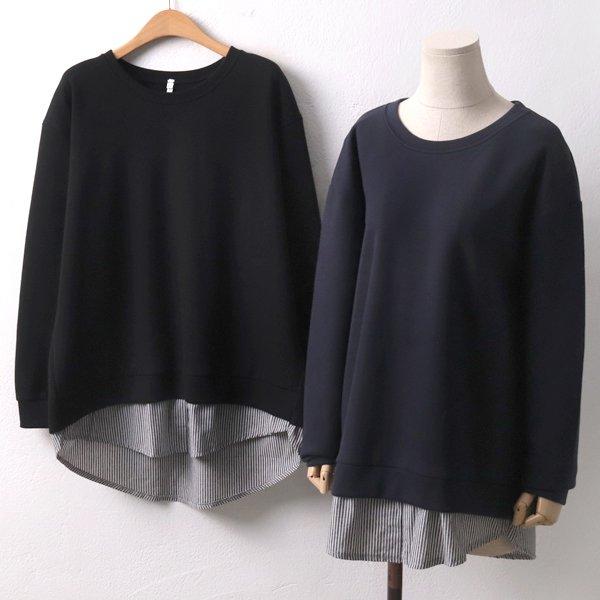 배색줄지레이어셔츠 DD7052M910  도매 배송대행 미시옷 임부복