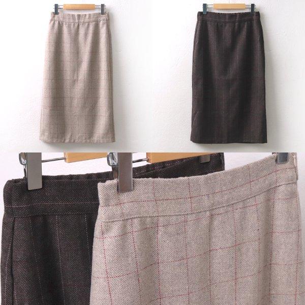 헤링본체크모직치마 MO7064M911  도매 배송대행 미시옷 임부복