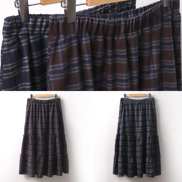 체크셔링롱스커트 CR7218M911  도매 배송대행 미시옷 임부복
