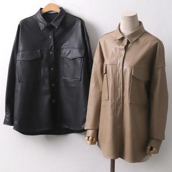 심플포켓가죽남방 PE7296M911  도매 배송대행 미시옷 임부복