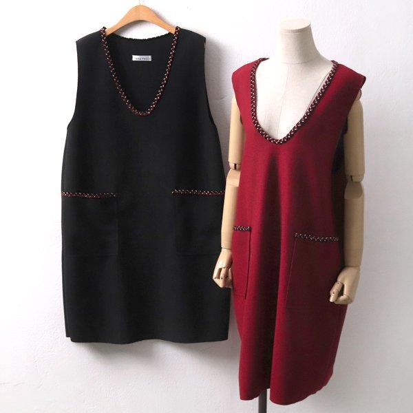 컬러자수모직원피스 YP7491M911  도매 배송대행 미시옷 임부복