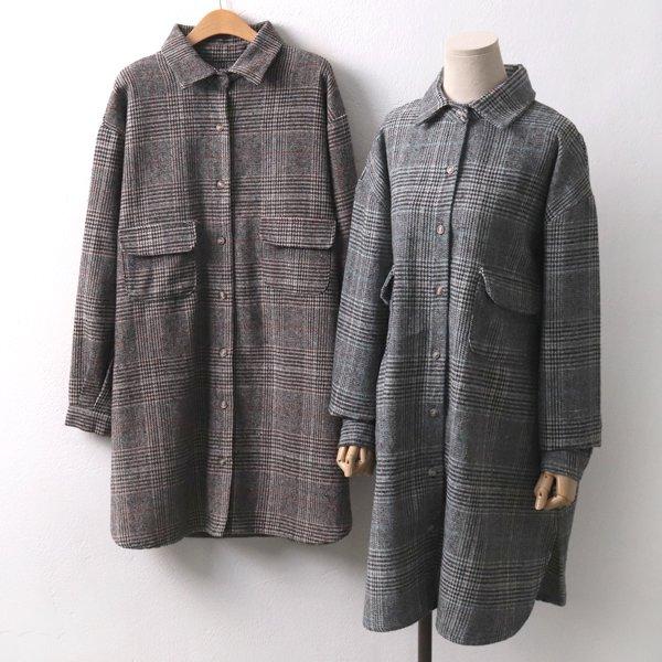 포켓모직롱체크남방 EB7643M912  도매 배송대행 미시옷 임부복