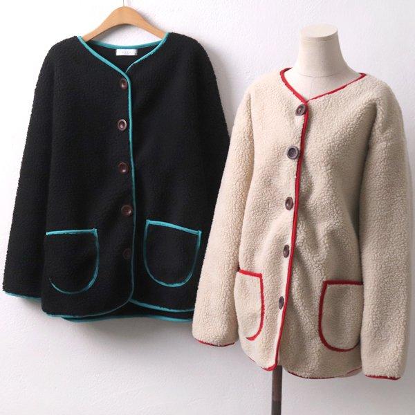 뽀키배색양털자켓 ZY7686M912  도매 배송대행 미시옷 임부복