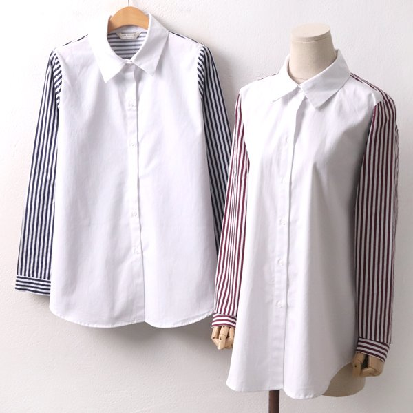 줄지소매배색셔츠 BN8023M001  도매 배송대행 미시옷 임부복
