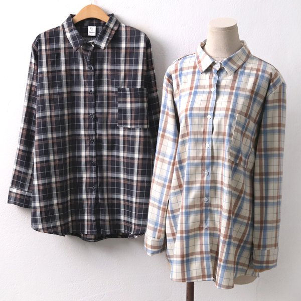 리볼라크림체크남방 CR8105M001  도매 배송대행 미시옷 임부복