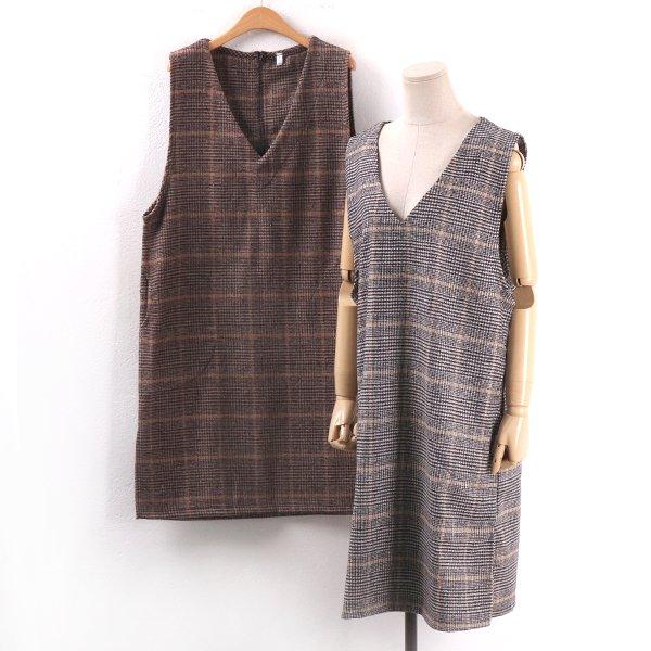 체크울조끼원피스 MN8265M002  도매 배송대행 미시옷 임부복