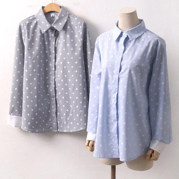 도트잔줄지배색셔츠 BG8276M002  도매 배송대행 미시옷 임부복