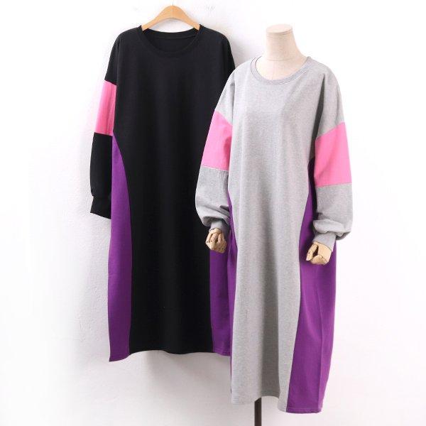 배색슬림라인원피스 WW8365M002  도매 배송대행 미시옷 임부복