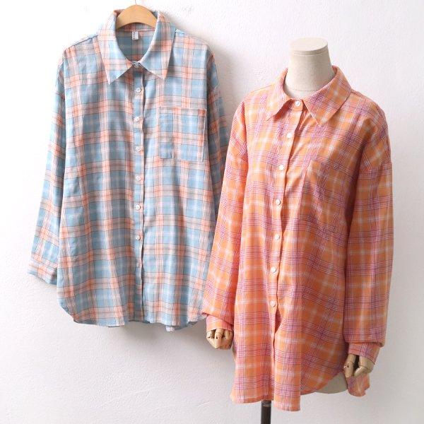 주머니체크롱남방 YP8369M002  도매 배송대행 미시옷 임부복