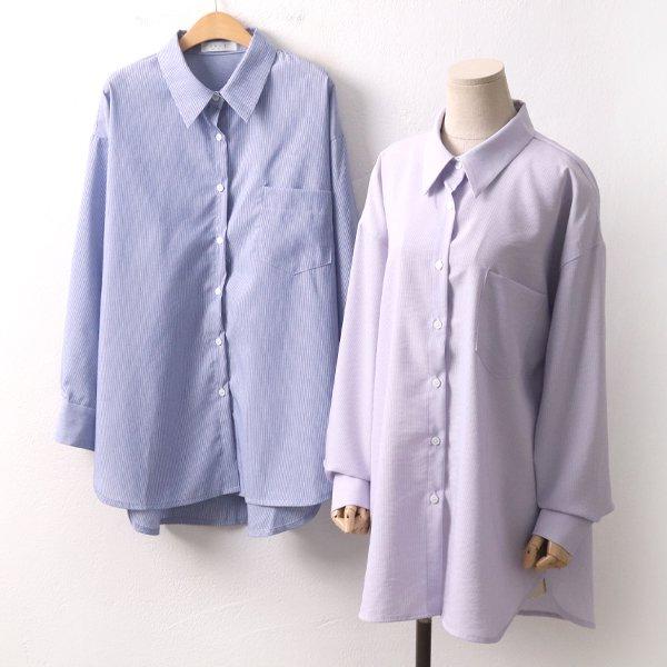 쿨톤잔줄지롱셔츠 PE8370M002  도매 배송대행 미시옷 임부복
