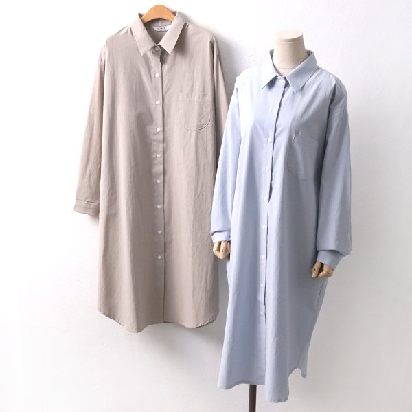 포켓핀턱면롱셔츠 LY8429M002  도매 배송대행 미시옷 임부복