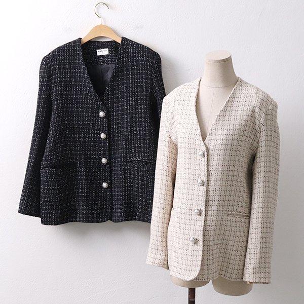 빅사이즈 트위드진주자켓 MO8910M003 도매 배송대행 미시옷 임부복