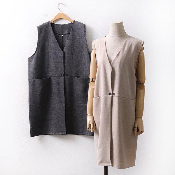 빅사이즈 포켓클래식롱베스트 WW9045M003 도매 배송대행 미시옷 임부복
