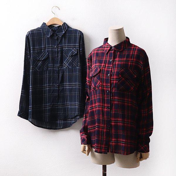 빅사이즈 타탄체크포켓셔츠 IL9097M004 도매 배송대행 미시옷 임부복