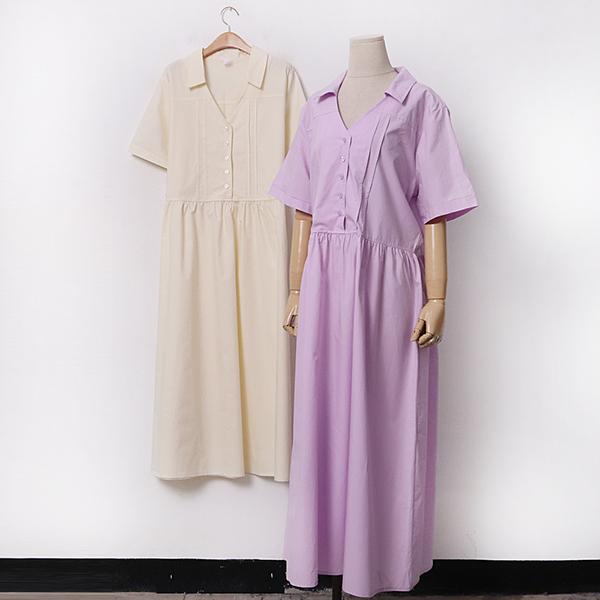 빅사이즈 카라핀턱버튼원피스 CH9471M005 도매 배송대행 미시옷 임부복
