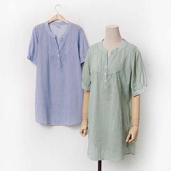 빅사이즈 잔줄지차이나셔츠 DD9481M005 도매 배송대행 미시옷 임부복