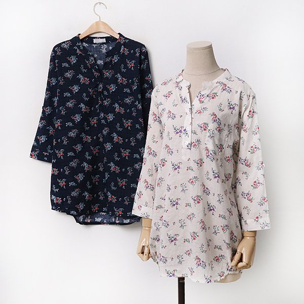 빅사이즈 플라워가든7부셔츠 CO9522M005 도매 배송대행 미시옷 임부복