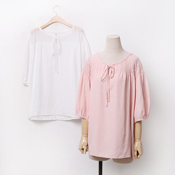 빅사이즈 레이스펍블라우스 CRA048M006 도매 배송대행 미시옷 임부복