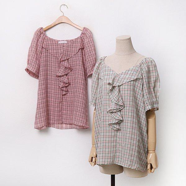 스퀘어훌체크블라우스 DYPA060 도매 배송대행 미시옷 임부복