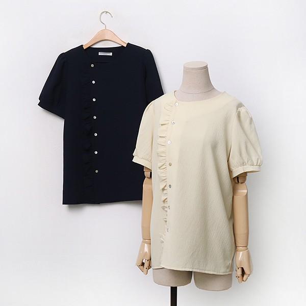 옆프릴버튼블라우스 LYA076M006 도매 배송대행 미시옷 임부복