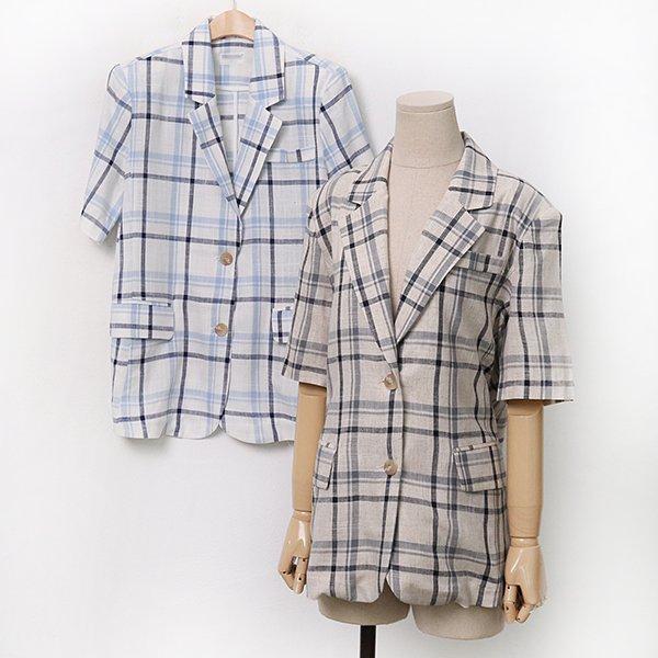 007 플랩린넨체크썸머자켓 DMOA183 도매 배송대행 미시옷 임부복