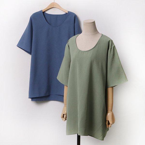 007 오버라인무지유넥면티 DEBA264 도매 배송대행 미시옷 임부복