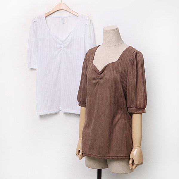 008 세로골지셔링퍼프티 DGOA302 도매 배송대행 미시옷 임부복